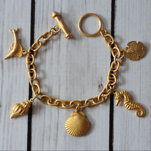 vintage gold tone charm bracelet nautical fish